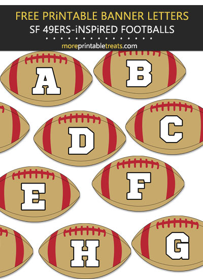 Free Printable San Francisco 49ers-Inspired Football Banner Letters