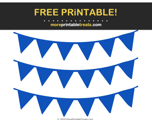 Free Printable Sapphire Blue Pennant Bunting Banner Cut Outs