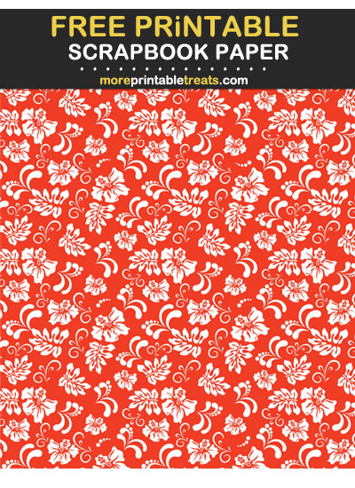 Free Printable Scarlet Red Hawaiian Scrapbook Paper