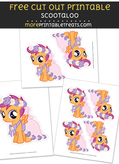 Free Scootaloo Cut Out Printable with Dashed Lines - My Little Pony