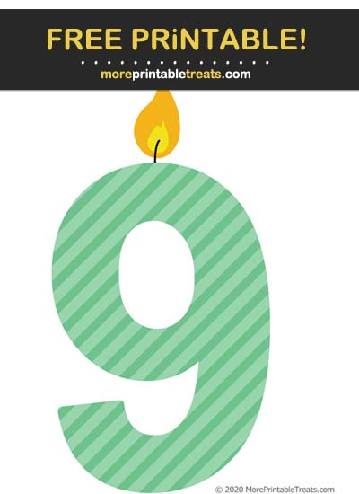 Free Printable Seafoam Green Striped Birthday Candle Number 9 Cut Out