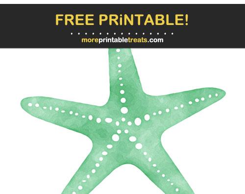 Free Printable Seafoam Green Watercolor Starfish