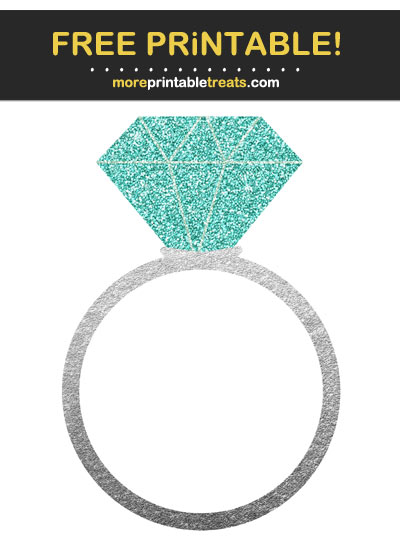 Free Printable Silver Foil and Glitter Engagement Ring