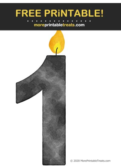 Free Printable Smokey Gray Watercolor Birthday Candle Number 1 Cut Out