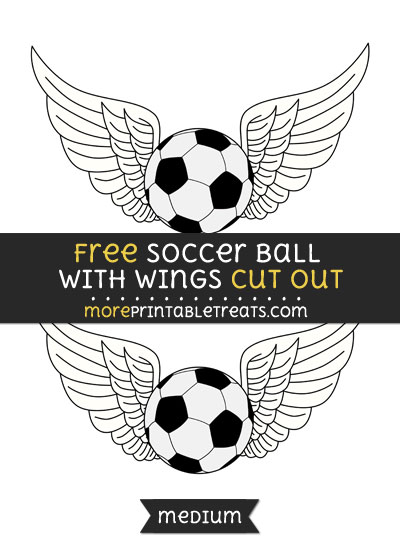 Free Soccer Ball With Wings Cut Out - Medium Size Printable