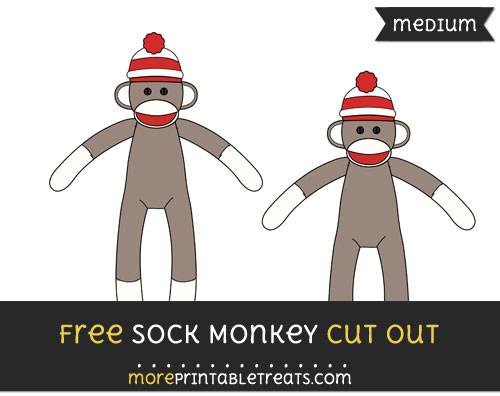Free Sock Monkey Cut Out - Medium Size Printable
