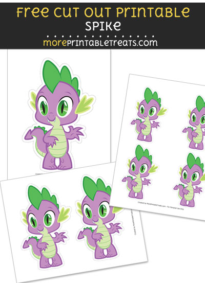 Free Spike Baby Dragon Cut Out Printable with Dashed Lines - My Little Pony
