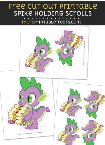 Free Spike Holding Scrolls Cut Out Printable with Dashed Lines