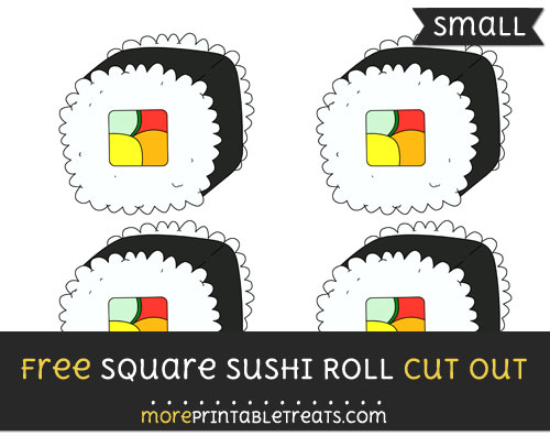 Free Square Sushi Roll Cut Out - Small Size Printable