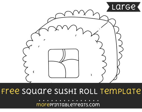 Free Square Sushi Roll Template - Large