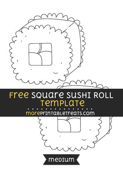 Free Square Sushi Roll Template - Medium