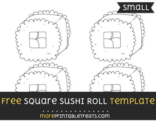 Free Square Sushi Roll Template - Small