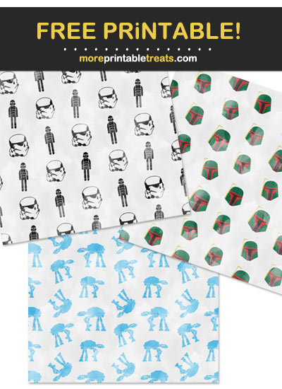 Free Printable Star Wars Watercolor Wrapping Paper