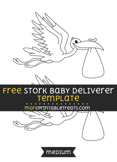 Free Stork Baby Deliverer Template - Medium