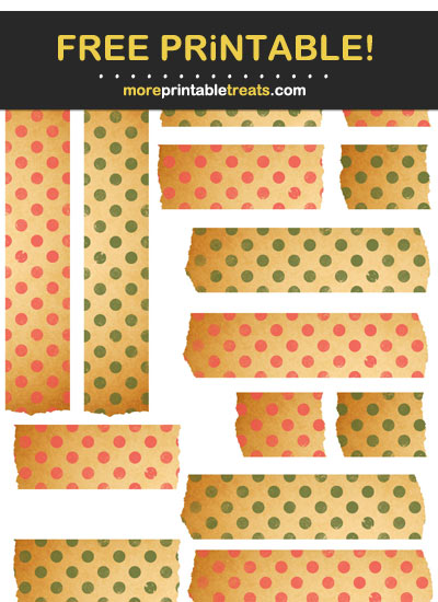 Free Printable Strawberry Pink and Army Green Vintage Washi Tape