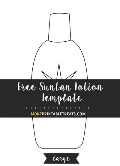 Free Suntan Lotion Template - Large