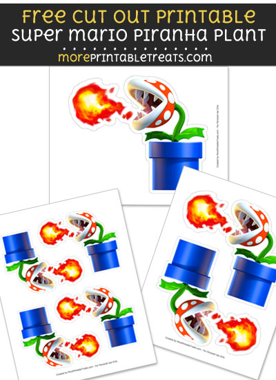 Free Super Mario Piranha Plant Cut Out Printable with Dashed Lines - Mario