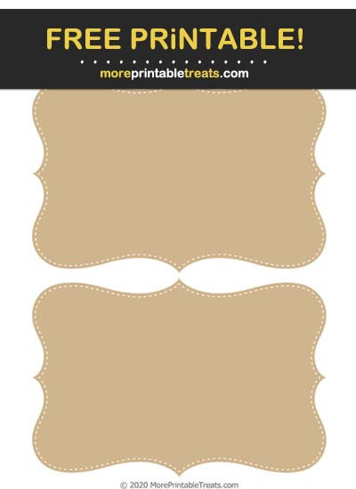 Free Printable Tan White-Stitched Curvy Labels