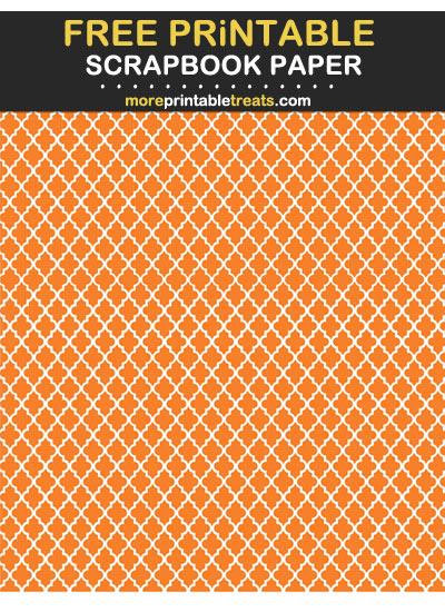 Free Printable Tangerine Moroccan Tile Scrapbook Paper