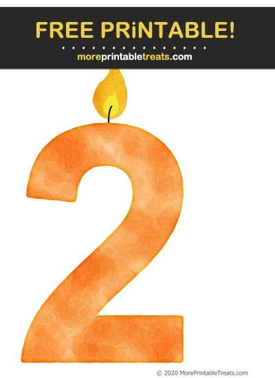 Free Printable Tangerine Orange Watercolor Birthday Candle Number 2 Cut Out