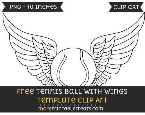 Free Tennis Ball With Wings Template - Clipart