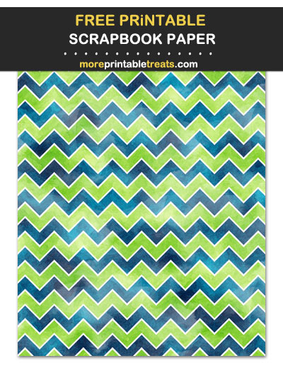 Free Printable Textured Blue and Green Chevron Scrapbook Paper