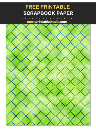 Free Printable Textured Blue and Green Dotted Trellis Scrapbook Paper