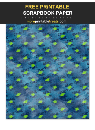 Free Printable Textured Blue and Green Game Time Football Scrapbook Paper