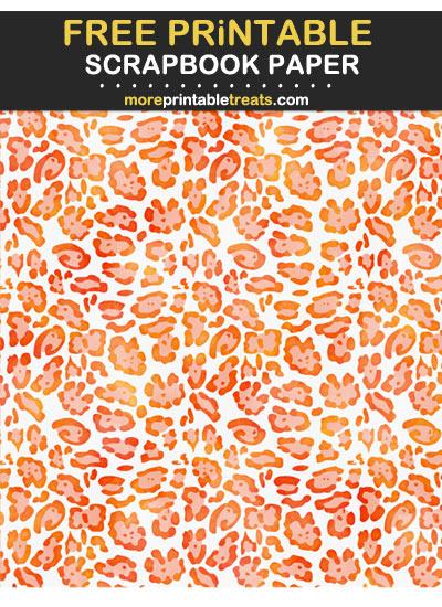 Free Printable Textured Orange Leopard Print Scrapbook Paper