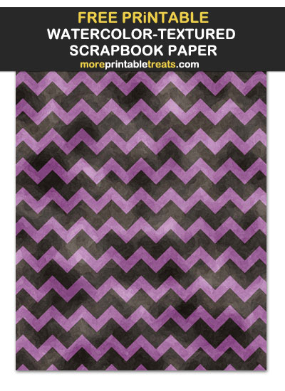 Free Printable Watercolor Black and Purple Chevron Scrapbook Paper