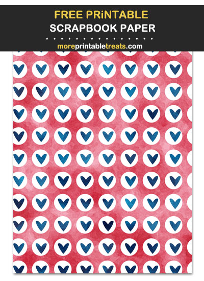 Free Printable Red, Blue, and White Hearts Scrapbook Paper Paper