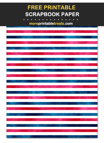 Free Printable Red, Blue, and White Horizontal Striped Scrapbook Paper