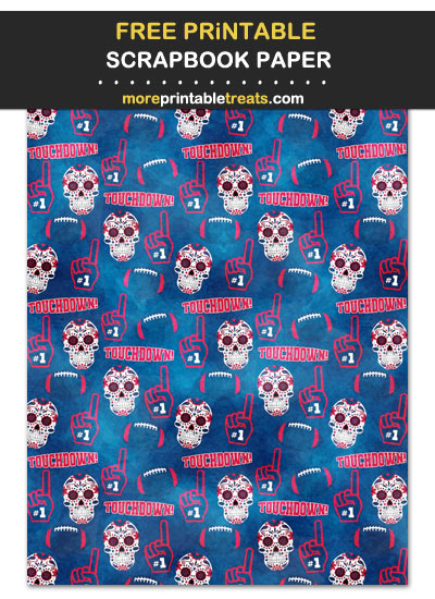 Free Printable Watercolor-Textured Red, Blue, and White Skulls and Footballs Scrapbook Paper