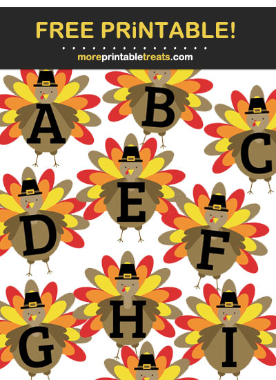 Free Printable Thanksgiving Turkey Alphabet - Letters, Numbers, Punctuation