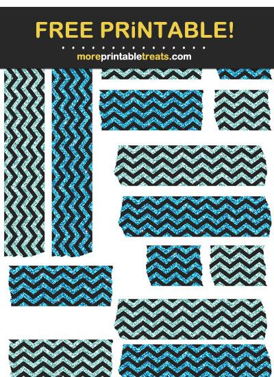 Free Printable Tiffany Blue and Cerulean Blue Glitter Chevron Washi Tape