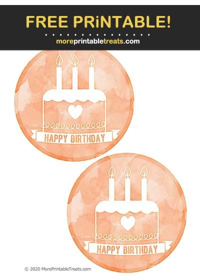 Free Printable Tiger Orange Watercolor Birthday Icon Cut Outs