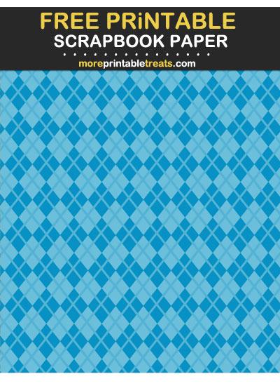 Free Printable Tinted Cerulean Blue Argyle Scrapbook Paper