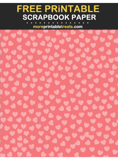 Free Printable Tinted Coral Heart Confetti Scrapbook Paper