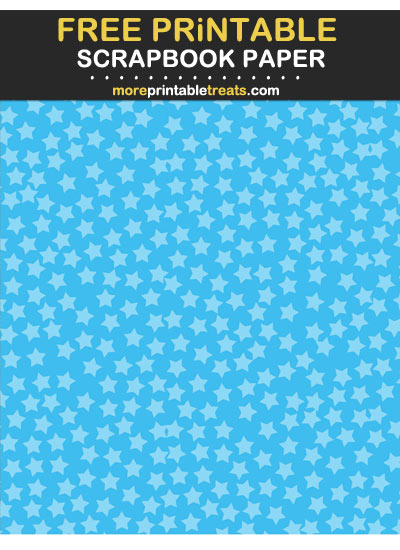 Free Printables Tinted Deep Sky Blue Star Confetti Scrapbook Paper