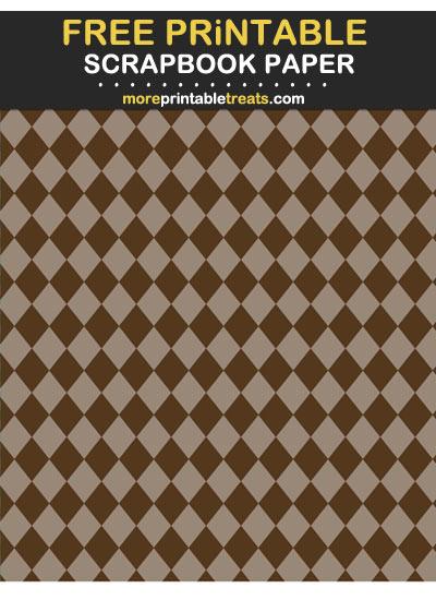 Free Printable Tinted Espresso Brown Harlequin Scrapbook Paper