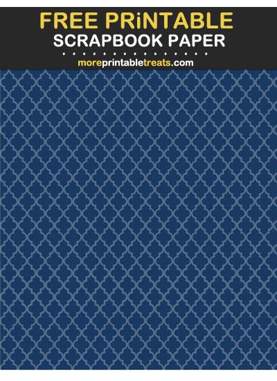 Free Printable Tinted Navy Blue Moroccan Tile Scrapbook Paper