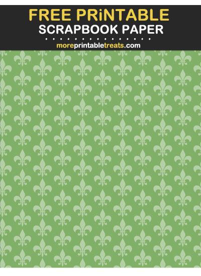 Free Printable Tinted Pistachio Green Fleur de Lis Scrapbook Paper