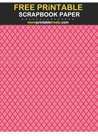 Free Printable Tinted Ruby Pink Moroccan Tile Scrapbook Paper