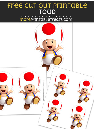 Free Toad Cut Out Printable with Dashed Lines - Mario