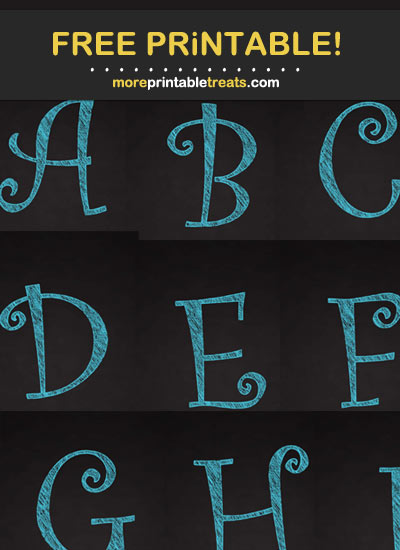 Free Printable Tropical Blue Curly Chalk Alphabet - Letters, Numbers, Punctuation