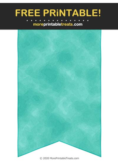 Free Printable Turquoise Saturated Watercolor Bunting Banner Cut Out
