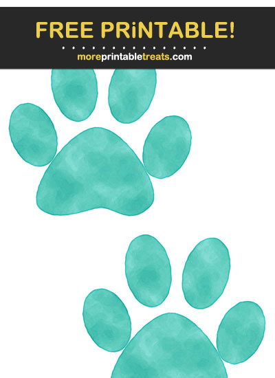 Free Printable Turquoise Saturated Watercolor Paw Prints
