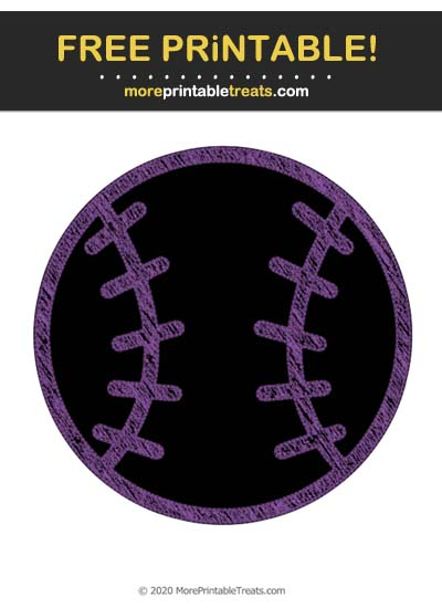 Free Printable Violet Chalk-Style Baseball Icon Cut Out