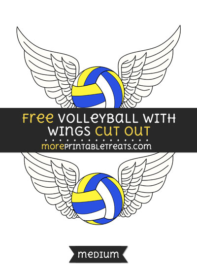 Free Volleyball With Wings Cut Out - Medium Size Printable