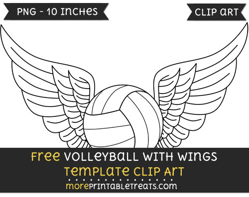 Free Volleyball With Wings Template - Clipart